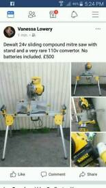 Dewalt 24v mitre saw with sliding compound with stand and very rare 110 v converter no batteries