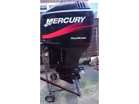 mercury 75 hp outboard 4 stroke PTT fully serviced warranty 2003 complete remote new tank andd line