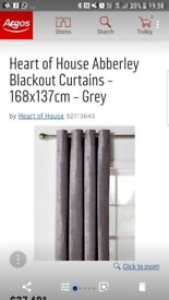 Grey lined black out curtains