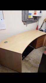Curved beech office desk