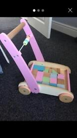 Mothercare wooden block trolley