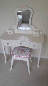 CHILD'S DRESSING TABLE AND FAIRY DECORATED PADDED STOOL