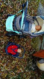 Lovely quality pram, 2babies, carrier, umbrella and accessories