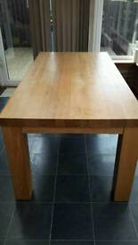 6ft x 3ft Natural Real Oak Dining Table