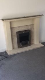 Marble fire place including fire heater