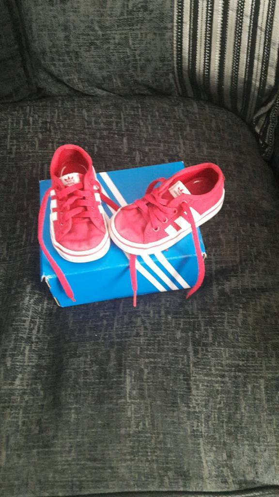 Pink adidas size 5 girls trainers