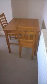 Table and 2 Chairs, solid wood