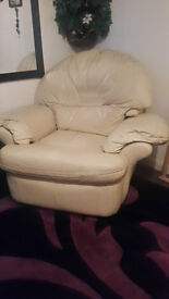 EXTRA COMFY AND LAZY cream leather reclining armchair for sale