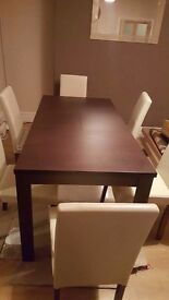 Dining room set 6 seats chesnut brown and cream