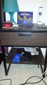 Bed Side Table/ Nightstand- Dark Brown (Ikea)+ Table Lamp (Blue)