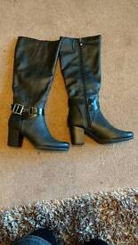 Ladies black knee high long boots by Marco Tozzi size 5