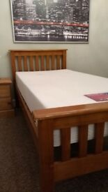 Gorgeous Wooden single bed with mattress and slats