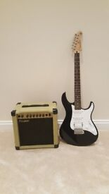 Yamaha Pacifica 112J Black electric guitar and westfield mvg 200r amp