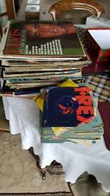 Selection of 45s vinyl records and LPs various artists