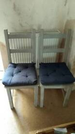 2 shabby chic upcycled dining chairs