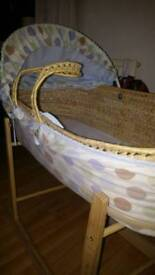 Moses Basket and Rocking Stand.