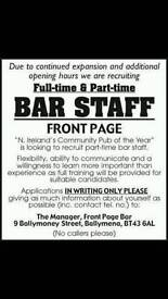 FRONT PAGE BAR, BALLYMENA.... now recruiting full time and part time bar staff