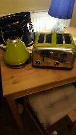 Lime green kettle and toaster