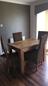 Mango Oak dining table, chairs
