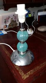 Bedside Lamp base - turquoise & silver