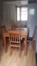 EXTENDABLE DINING TABLE AND 4 CHAIRS (HOMEBASE)