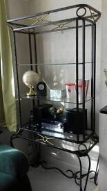 Glass shelf unit with matching table