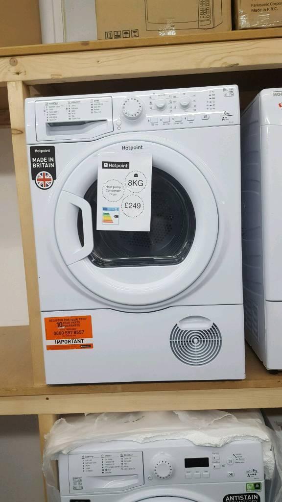 New graded Hotpoint 8kg heat pump condenser dryer with months guarantee with 12 months guarantee