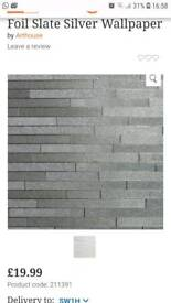 Foil slate silver wallpaper x5