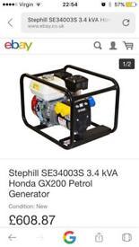 Stephill Honda petrol generator 2.7kw Brand new in box