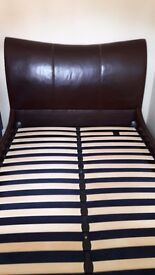 Double bed frame. Brown, leather sleigh