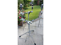 DW 9000 Double Tom & Cymbal stand and 2 x DW Dogbone Cymbal attachments