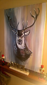 Large hand painted Stag- Local artist - original