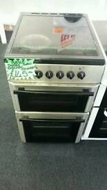 BEKO 50CM ELECTRIC DOUBLE OVEN COOKER IN SILVER