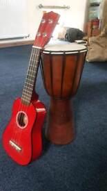 Ukulele and bongo drum