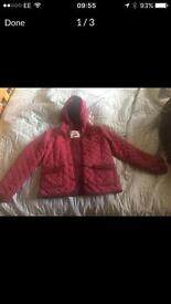 Girls Hooch quilted jacket size 12-13 Burgundy