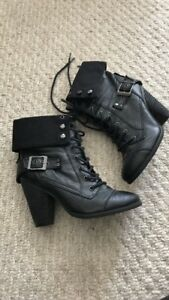 Lace up heel booties - size 8