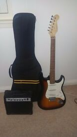 Electric guitar and amplifier