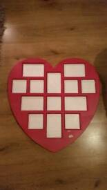 Love heart picture frame. Holds 13 pictures.