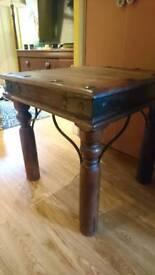 Coffee table, side table for living room/bedroom. Rustic metal studs