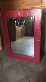 Red Print Large Mirror (faux leather)