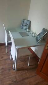 PENDING SALE. *REDUCED* £65 / Brand new glass top dining table and 4 chairs