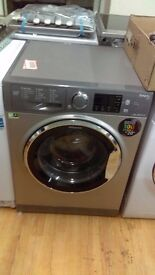 HOTPOINT silver 9kg WASHING MACHINE new ex display which may have minor marks or blemishes.