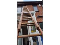 Wooden extendable heavy duty ladder. FREE delivery in Derby