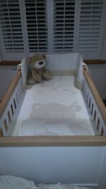 mothercare lulworth cot bed & changing unit - classic white - £300ono