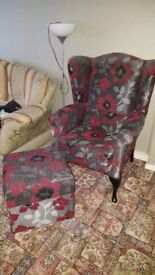 High back arm chair with matching footstool in imaculate condition