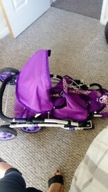 Purple double children's pram