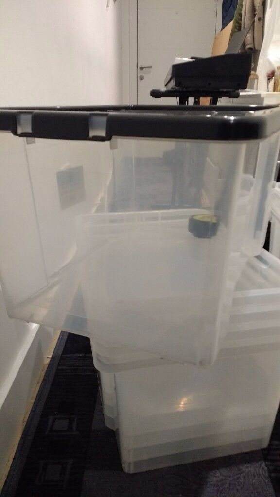 5 x 50 litre storage boxes with lids - can be nested or stacked
