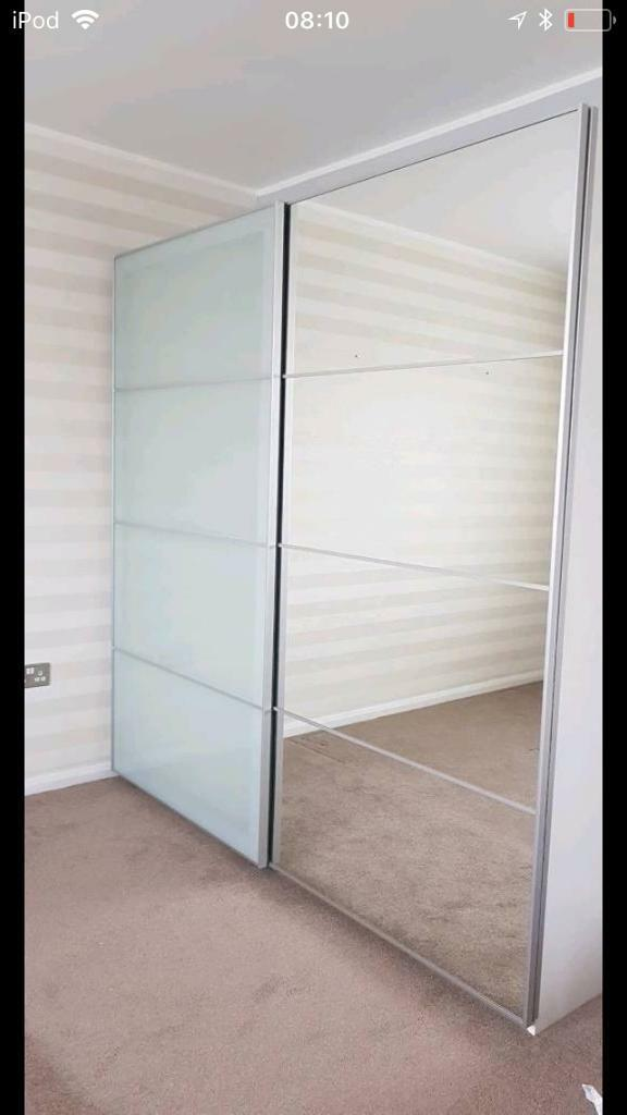 Ikea Mirror Glass Sliding Wardrobe Doors In Billingham County
