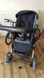 Bugy 3 in 1 car seat moses basket and pram seat used but clean and pet free smoke free home very