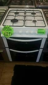 LOGIK 60CM GAS DOUBLE OVEN COOKER IN WHITE